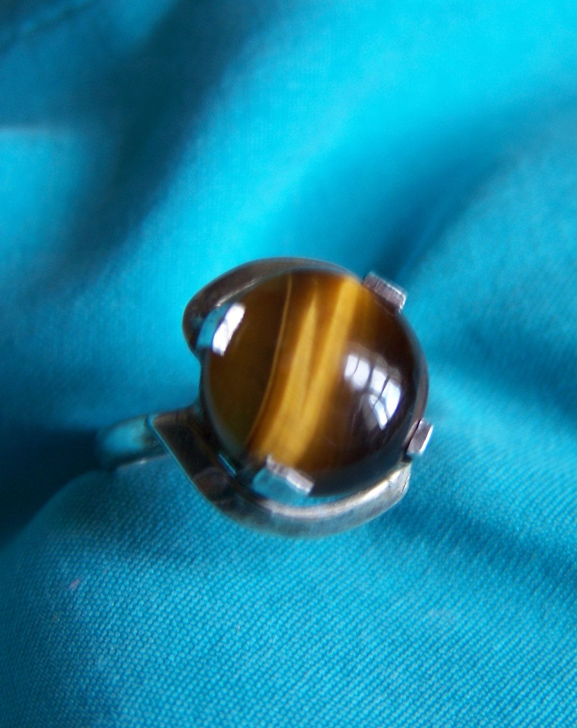 Vintage Sterling Silver 925 Size 9 to 9.5 Genuine Sienna Colored Stone Cats Eye Ring by walkingwithjulann on Etsy