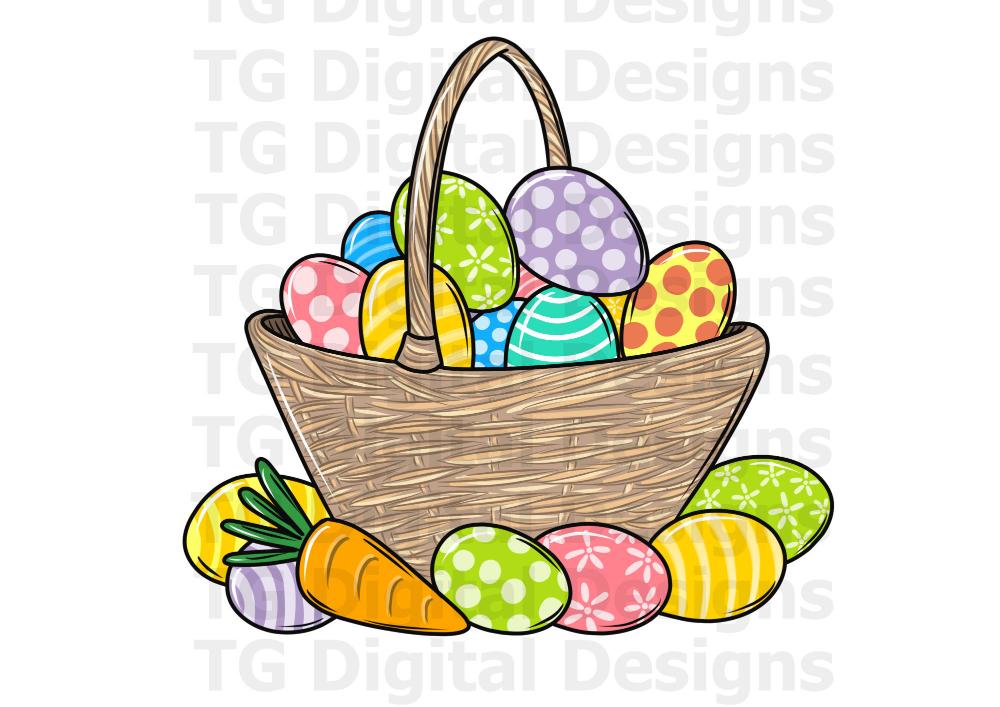Easter Basket Png Easter Eggs Basket Clipart Sublimation Etsy Easter Egg Basket Valentines Card Design Easter Baskets