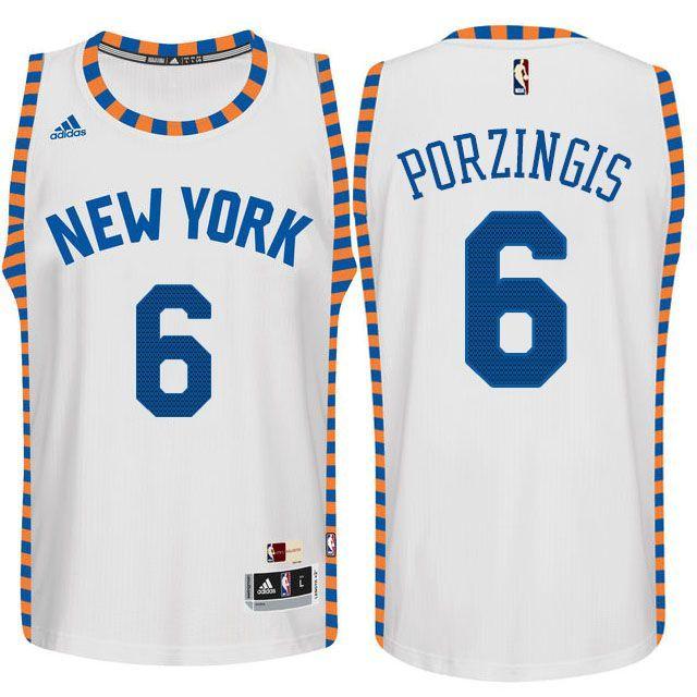 premium selection 49f66 c1efa Kristaps Porzingis #6 New York Knicks White Throwback ...
