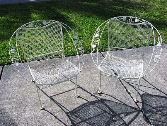 Pair Of 1950s Vintage Woodard Wrought Iron Hoop Chairs Ivy Pattern