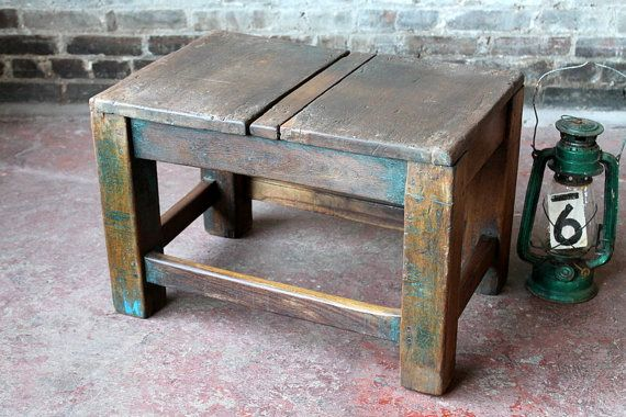 Salvaged Side Table Industrial Wood Stool School Desk Wood Plant Stand Craft Table Factory Table Boho Farm Chic Indonesian