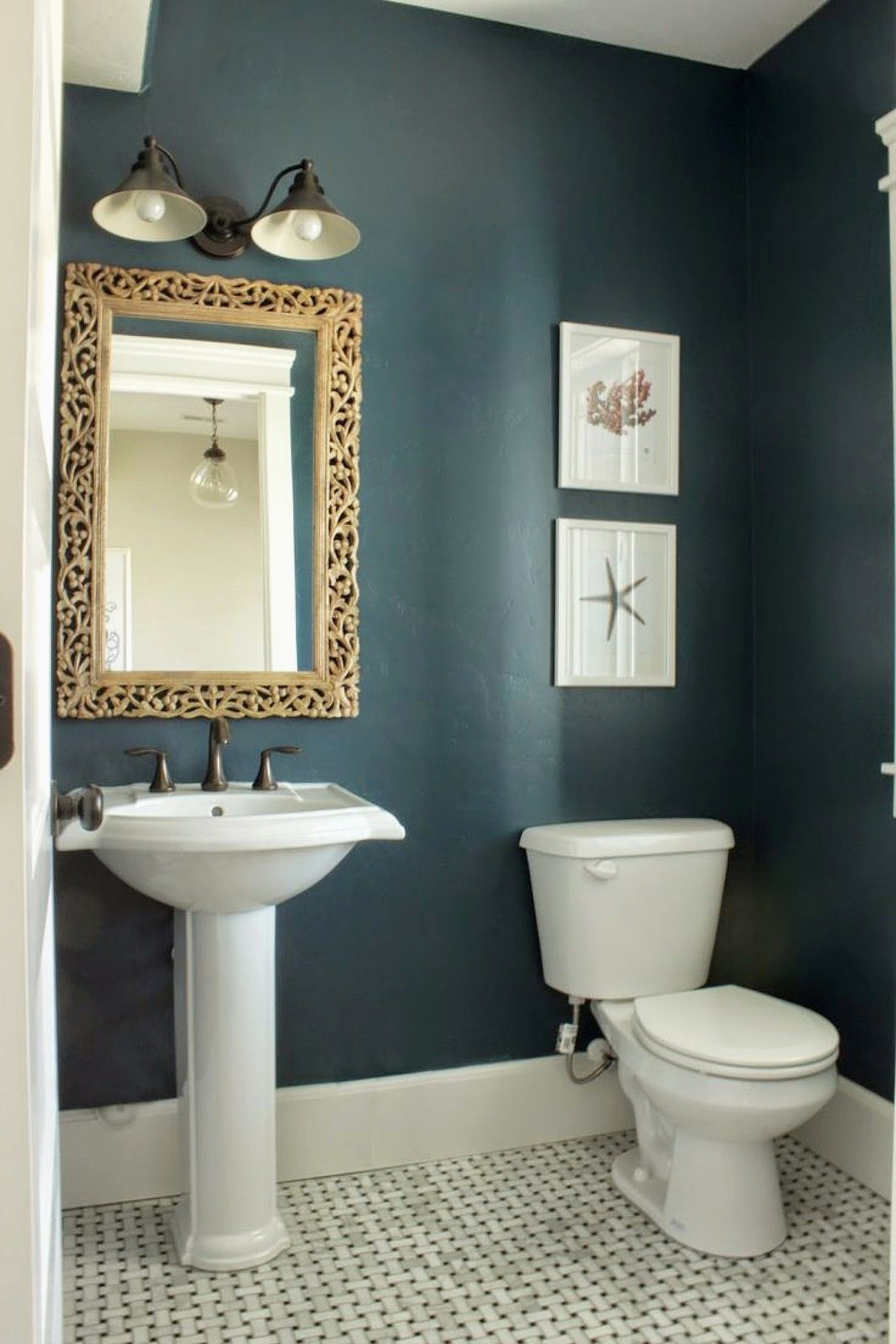 Thinking We Need A Luxe Dark Color For The Half Bath Neutral Or Warm Colors Because Of T In 2020 Small Bathroom Colors Small Bathroom Paint Small Bathroom Paint Colors