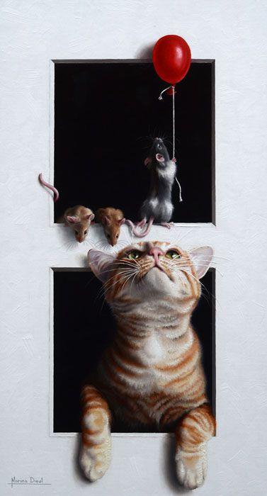 Le Ballon Rouge Cat Art Animal Art Cat Illustration