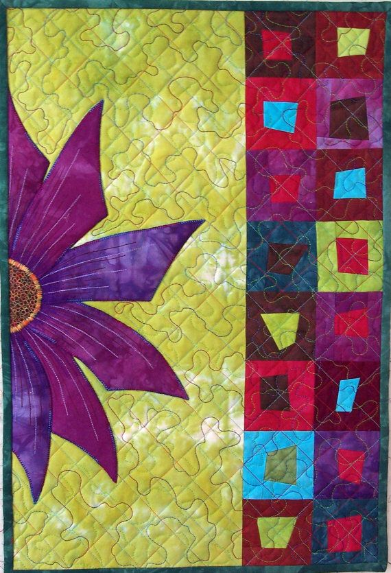 Purple Flower Wall Hanging Flower Quilts Quilted Wall