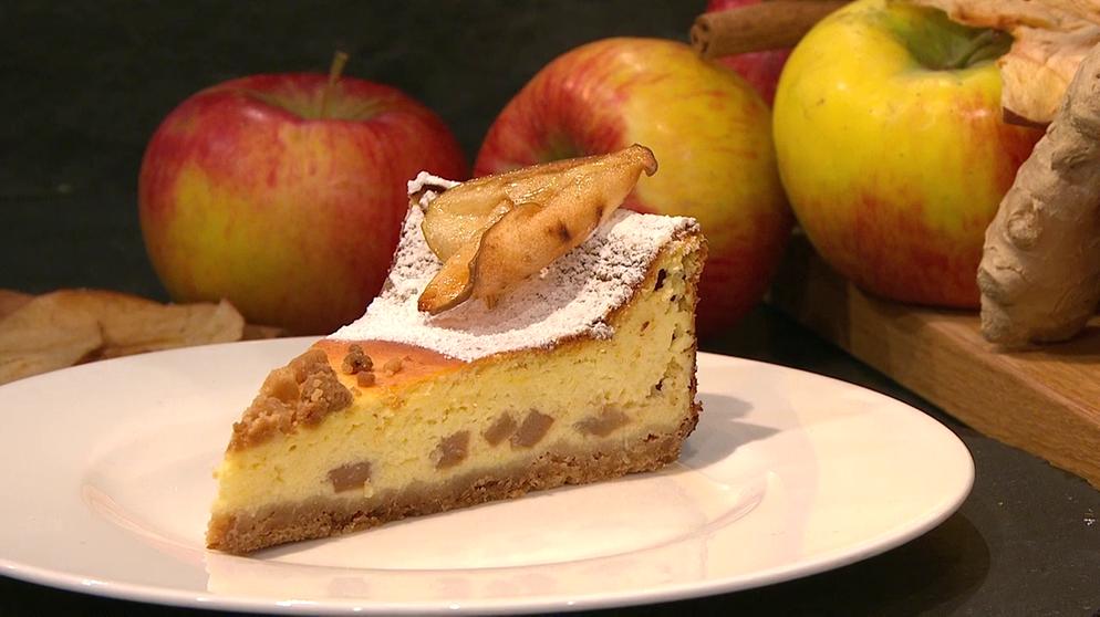Wir In Bayern Rezepte Kasekuchen Mit Apfel Und Ingwer Br De Rezepte Apfel Kasekuchen Kuchen