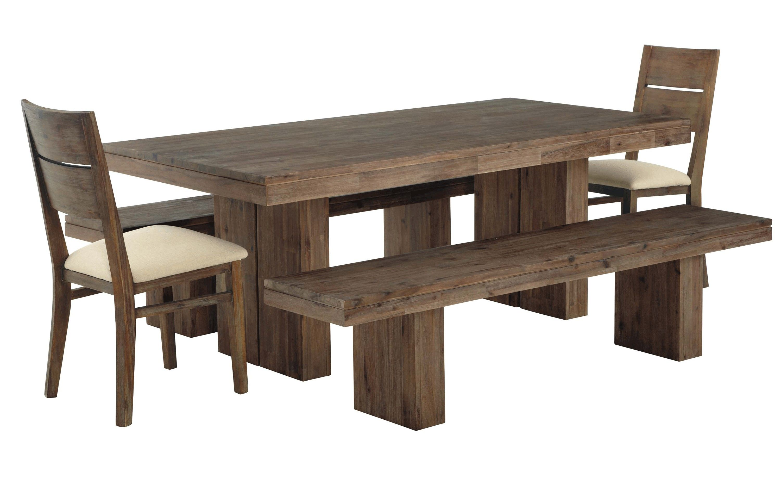 Furniture Diy Solid Wood Farmhouse Dining Table With Double Bench