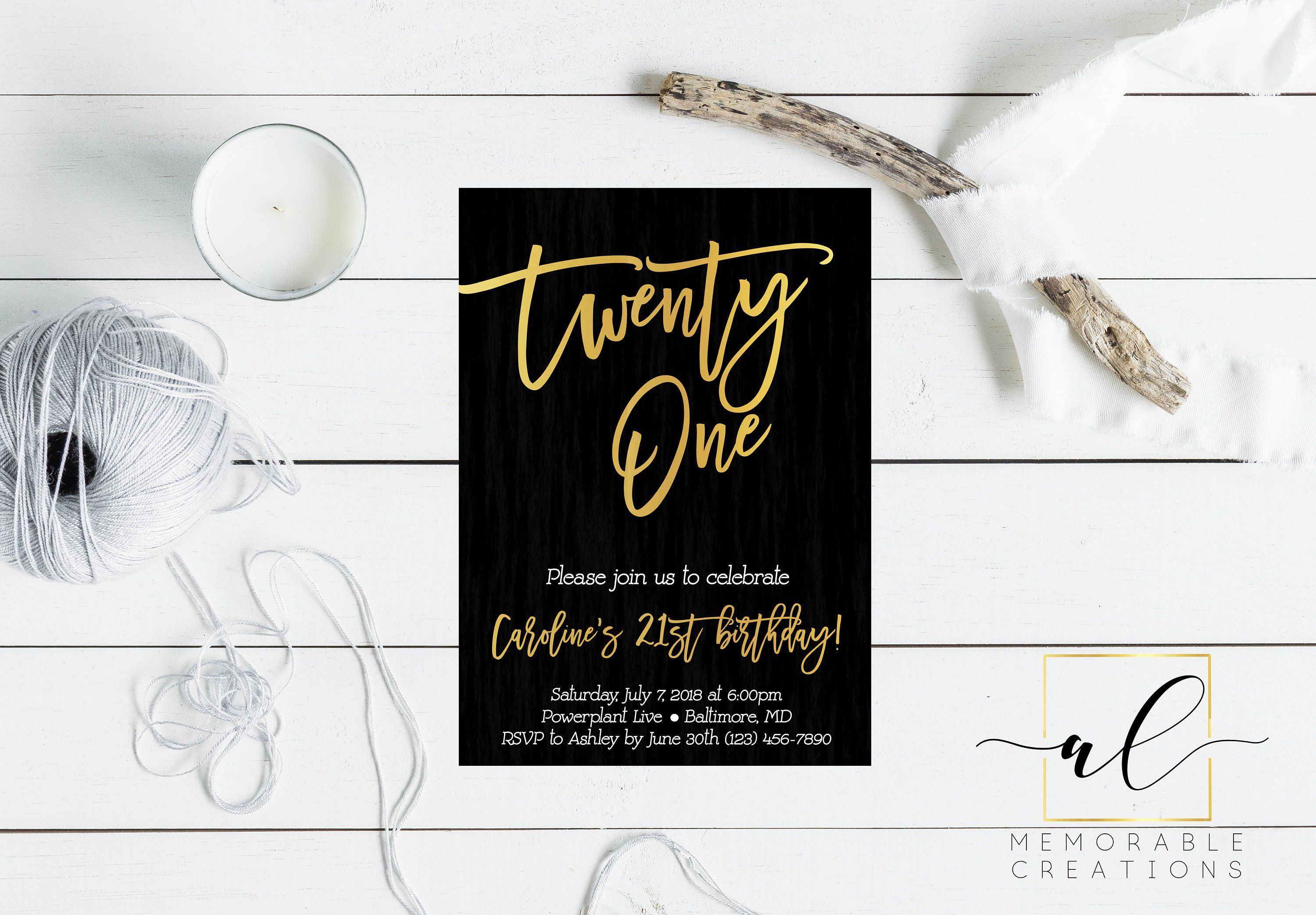 Gold 21st Birthday Invitation Black And Gold Foil Birthday