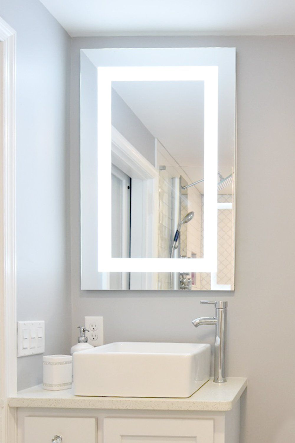 Mirrors And Marble Brand Commercial Grade Flush Mounted Led Lighted Led Bathroom Mirror Medicine Mirrored Cabinet Doors Bathroom Mirror Bathroom Mirror Lights