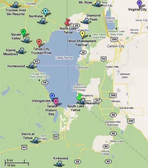 Lake Tahoe Ski Resorts Location Map Mountains Lakes And