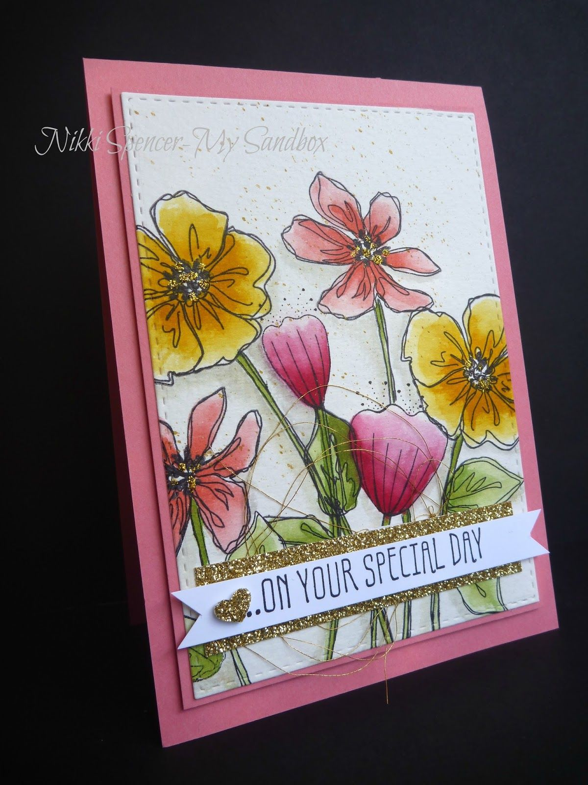 floral watercolour card using Stampin Up Penned & Painted & Bunch of…