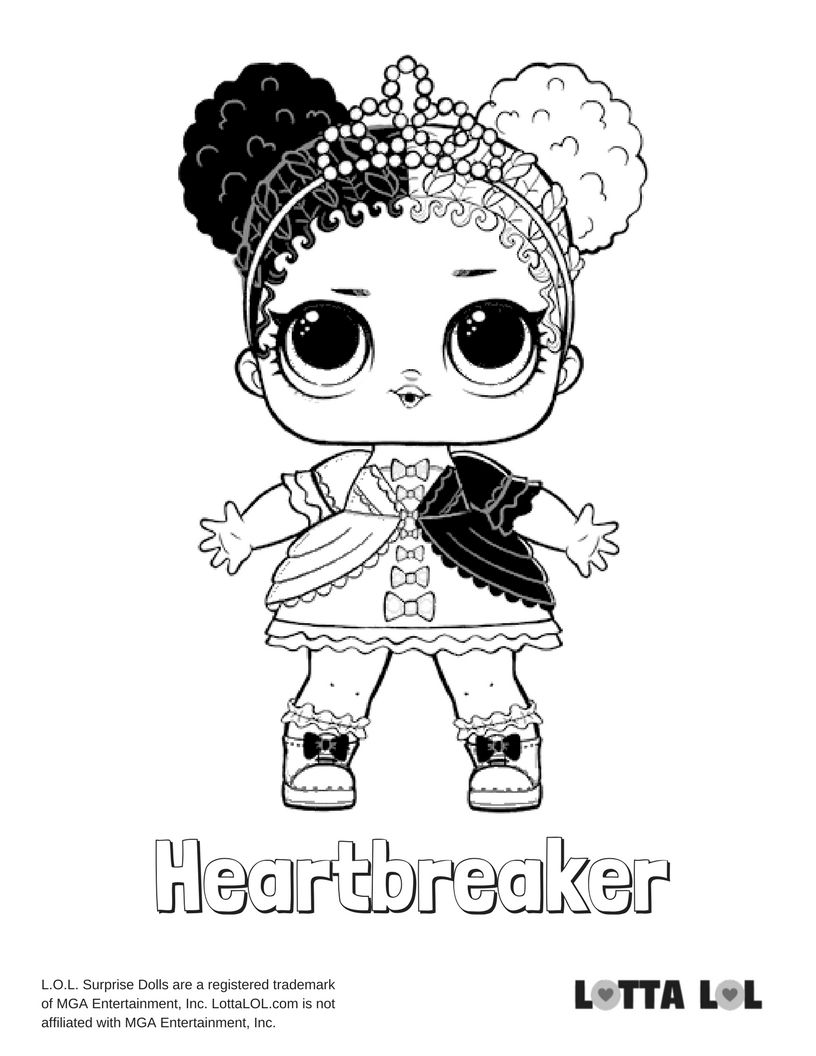 Heartbreaker Coloring Page Lotta Lol Lol Surprise Series 2