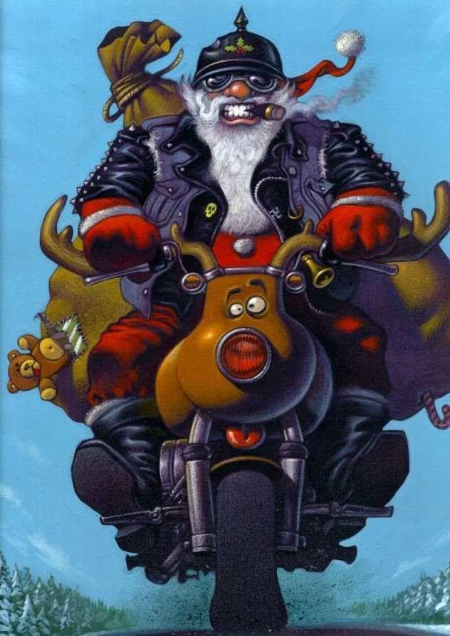 Easy Rider Santa Motorcycle Christmas Anti Santa