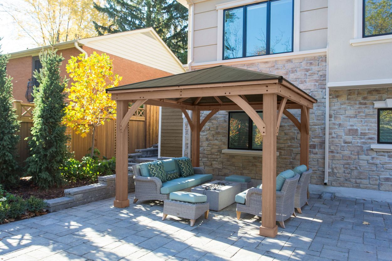 12 X 12 Cedar Gazebo With Aluminum Roof Pergola Patio Wooden Pergola