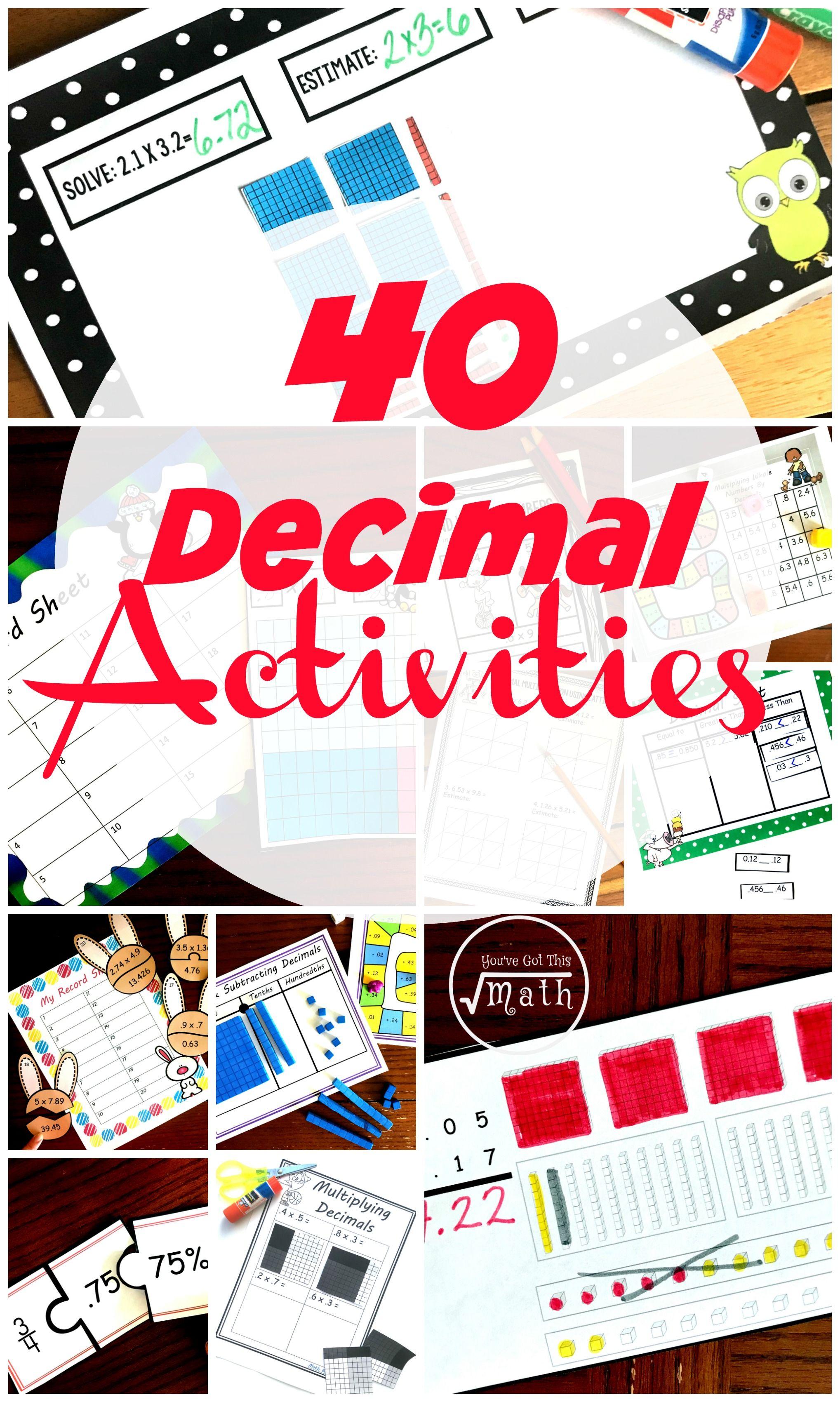50 Decimal Activities To Strengthen Decimal Sense In