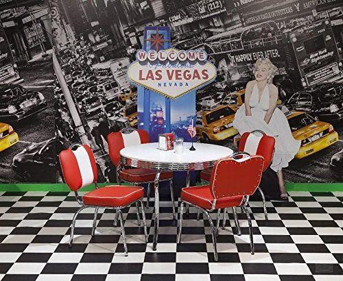 american diner tischgruppe king ii 50er jahre look bistro set rot wei k che. Black Bedroom Furniture Sets. Home Design Ideas