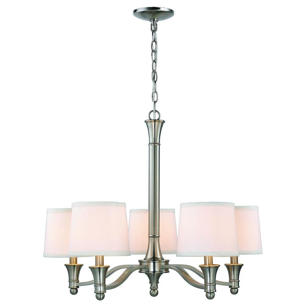 Hampton Bay 5 Light Brushed Nickel Chandelier With White Fabric