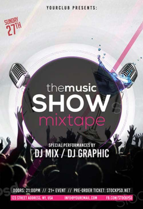 Music Show Free PSD Flyer Template - http://freepsdflyer.com/music-show-free-psd-flyer-template/ Enjoy downloading the Music Show Free PSD Flyer Template created by Stockpsd!  #Club, #Desgin, #Dj, #EDM, #Electro, #Elegant, #Event, #Festival, #Minimal, #Nightclub, #Party, #Simple
