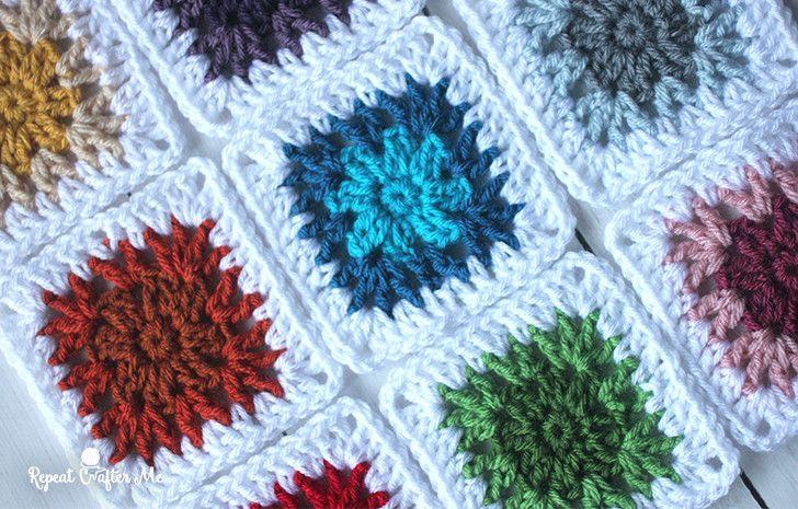 Crochet V-stitch Flower Granny Squares