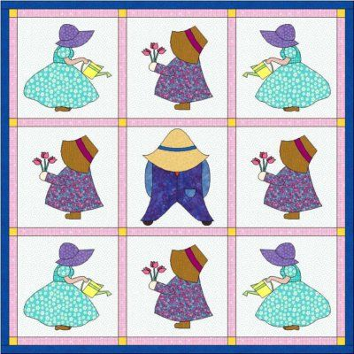 Sunbonnet Sue and Sam designs are popular in childrens quilts. There are a variety of blocks to choose from.