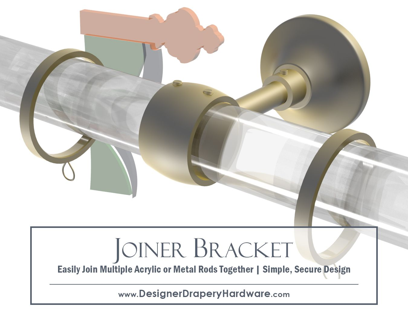 Satin Brass Joiner Bracket For Clear Acrylic Curtain Rods