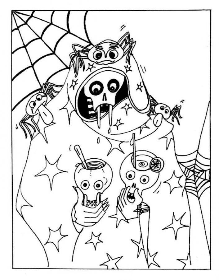 scary halloween skull juice party coloring pages of halloween free download for your kids description - Free Scary Halloween Coloring Pages