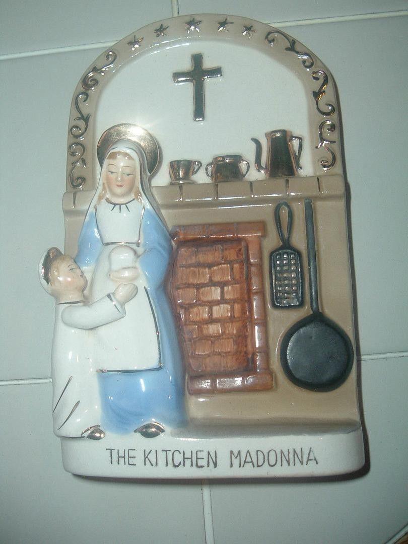 Vintage KITCHEN MADONNA Virgin Mary & Jesus Statue Wall Hanging ...