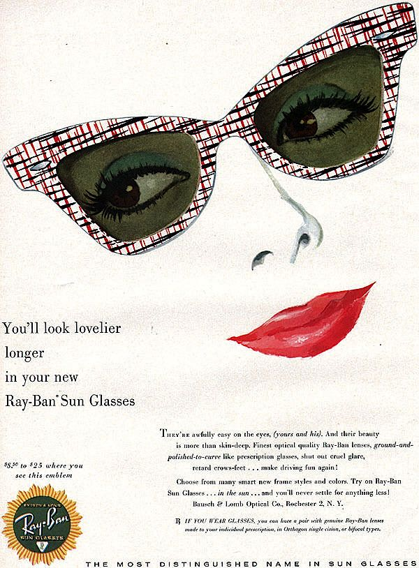 1957 Ray Ban sunglasses | Vintage Eyewear Ads: 1950's ...