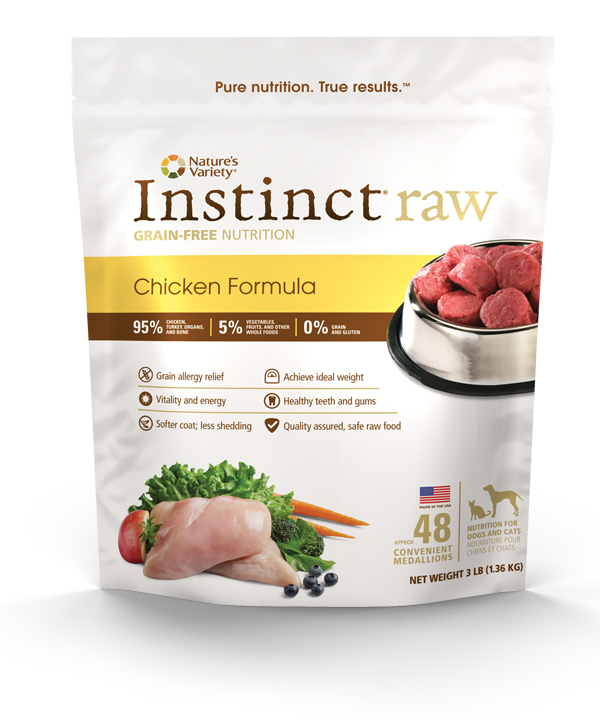 Natures variety instinct raw frozen diets for cats and dogs natures variety issues voluntary recall of one batch of instinct raw organic chicken formula for dogs cats sciox Gallery