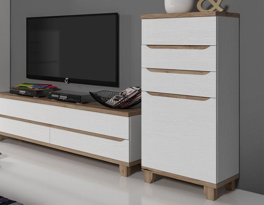 Colonne De Rangement Scandinave Blanc Et Couleur Bois Alvin Colonne De Rangement Mobilier Design Meuble De Style