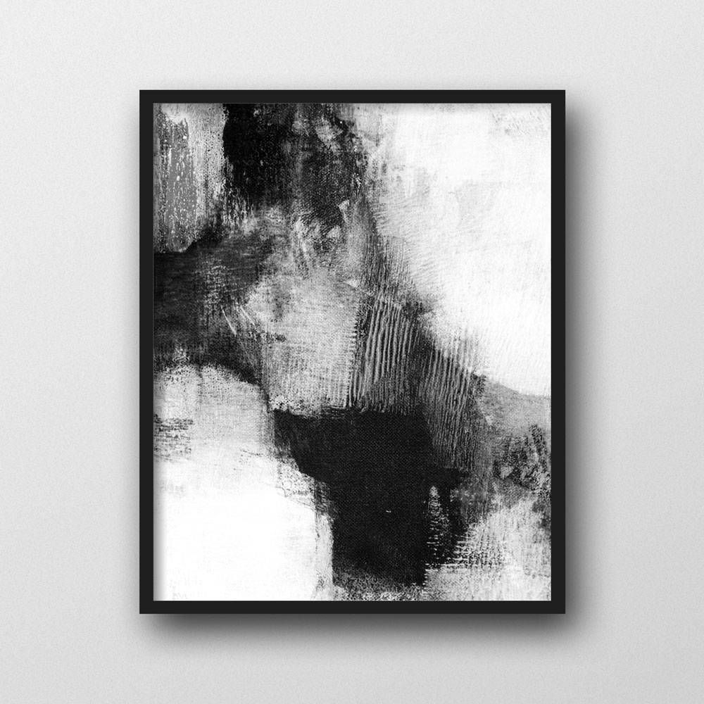 Black And White Abstract Painting Print Large
