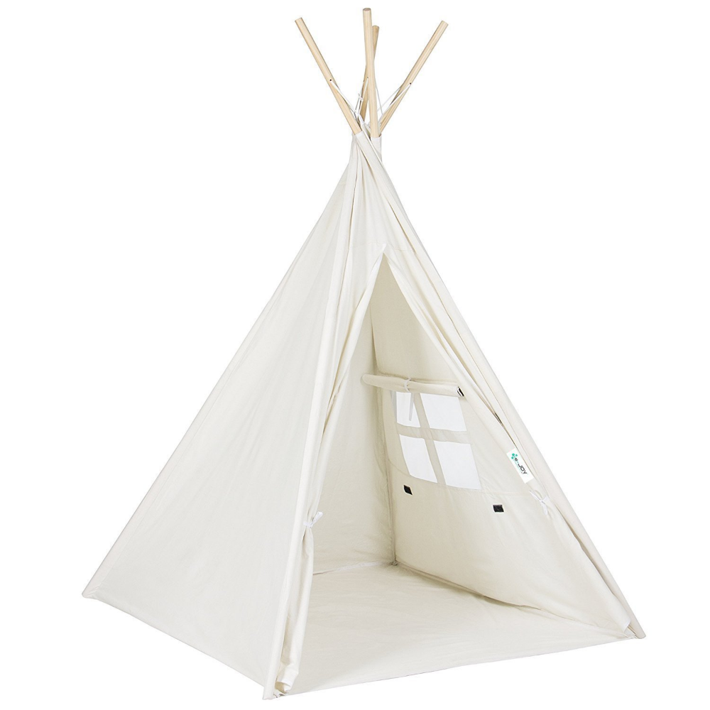 Funkatron Indoor Indian Playhouse Toy Teepee Play Tent For Kids With Carry Case White Walmart Com Kids Teepee Tent Teepee Tent Kids Play Tent