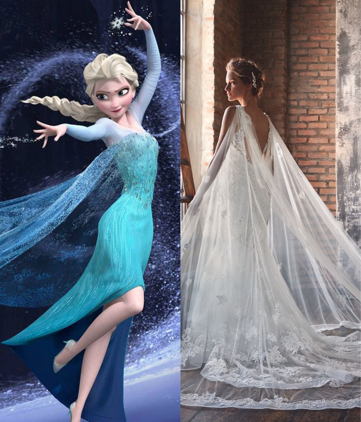 Modern wedding dresses for every Disney princess | Elsa, Silhouette ...