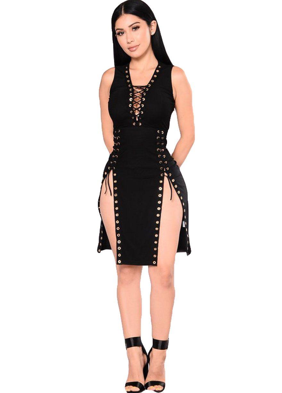 Eyelets Lace-up Plunging V Club Dress_Club Dress_Clubwear ...