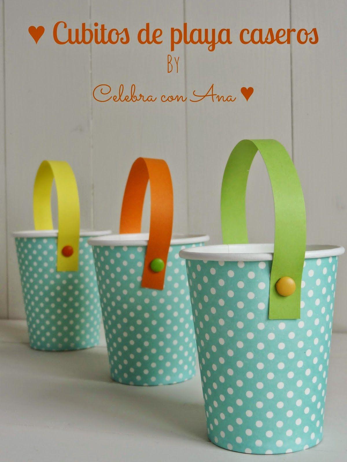 Cubos De Playa Con Vasos De Papel Para Fiestas Infantiles