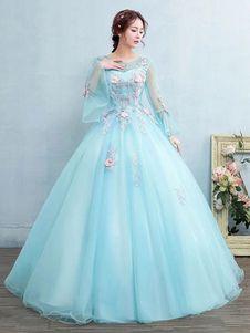 f95f0b134 Vestido para quinceañeras de agua azul con escote redondo con manga larga  con aplicación
