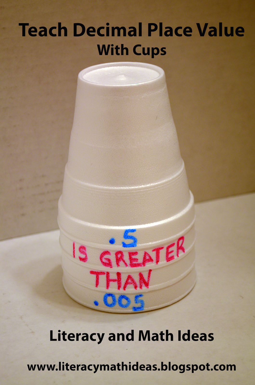 Use cups to teach decimals. Click the image to see helpful ...