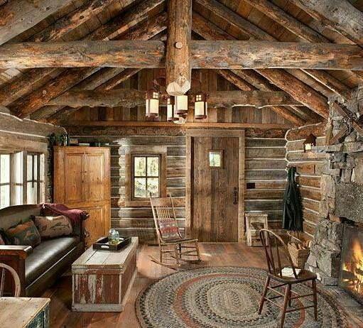 Ambiance Cabanes En Bois Intrieurs De Cabane Rondins Bches Pices Familiales Salons Chambre Damis Ides Pour La Maison Rustique