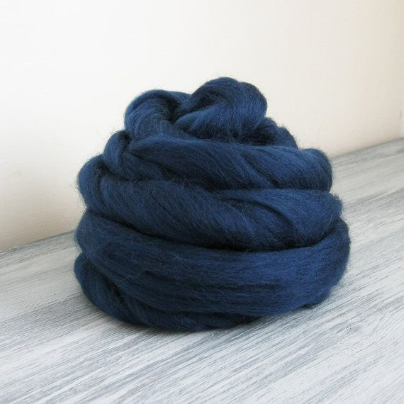 Felting wool roving - 23mic merino wool top for spinning 50 grams 1.76 oz - Navy blue no 63