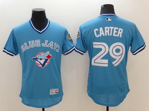1b28e8877 Men s Toronto Blue Jays  29 Joe Carter Retired Light Blue 2016 Flexbase  Majestic Baseball Jersey