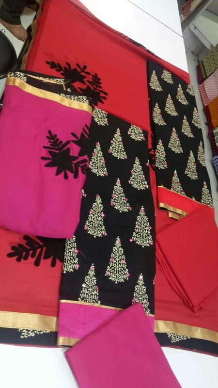 9dc51c9d0c Jaipur cotton dress material set Embroidered chiffon dupatta Visit fb page