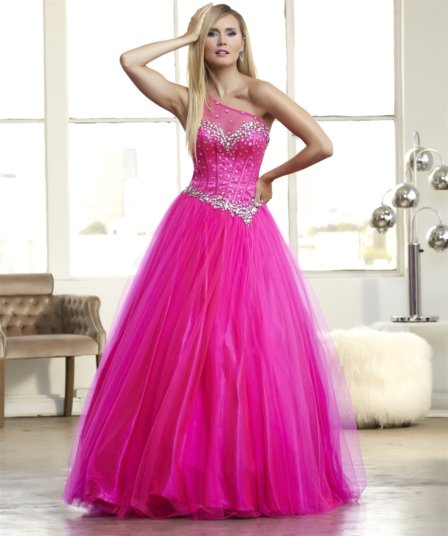 Mac Duggal 48100 One Shoulder Ball Gown Prom Dress Evening Gown $378 ...