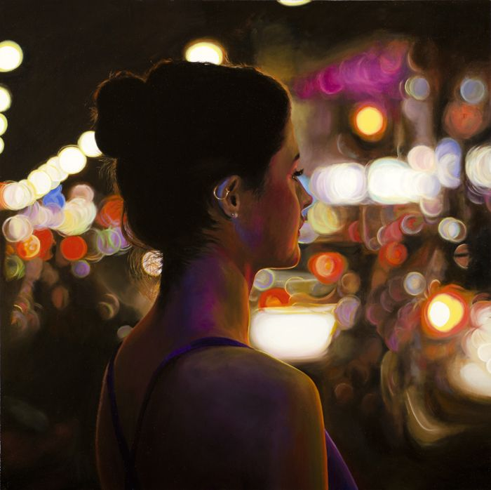 Love this painting! You go girl :D   Dianne Gall Bella in the lights 2012 Oil on linen 91x91cm