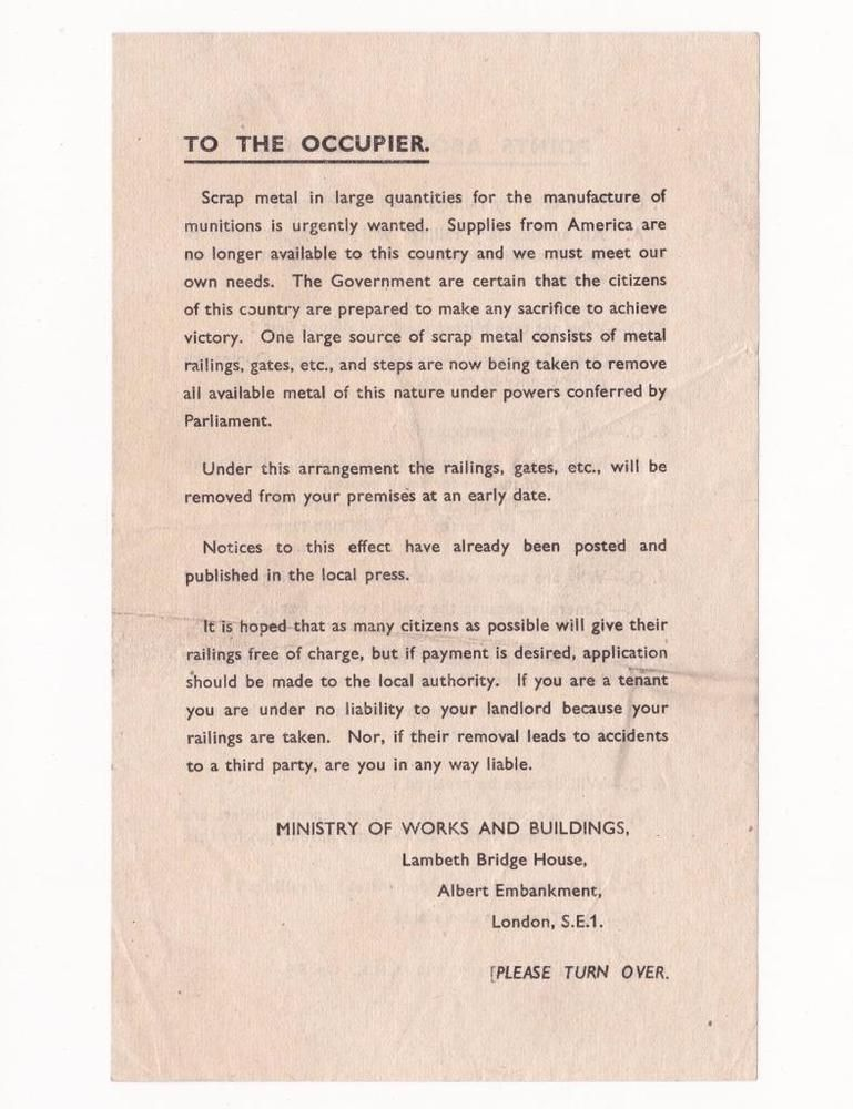 WW2 PUBLIC LEAFLET - IRON RAILINGS REQUISITION - Ministry of Works - what is requisition