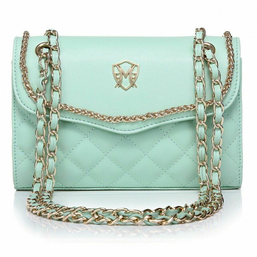 cc6c3d95e0be Greg Michaels Natalie in Green Mint Real Nappa Leather Shoulder ...