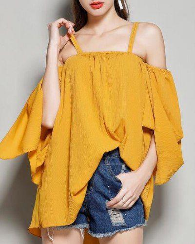 145cbc01022e Cold shoulder tops for ladies plain yellow trumpet sleeve t shirt dress