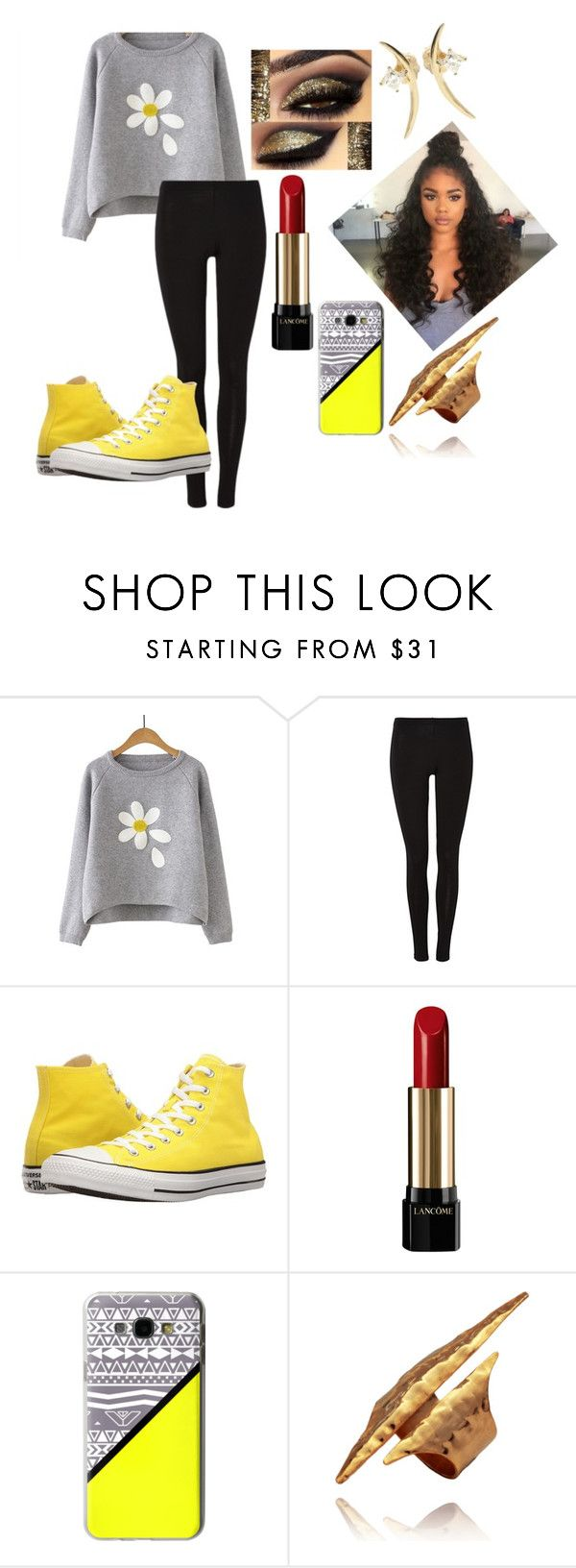 """yummy yellow"" by hashtagfudgebarsfrombae on Polyvore featuring Converse, Lancôme, Casetify and Wasson Fine"