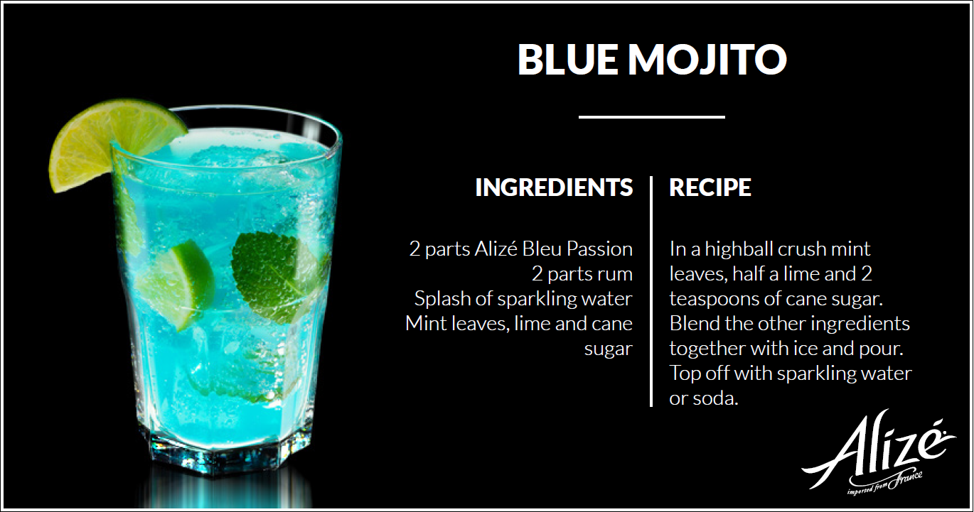 Blue Mojito Alize Cocktails Liqueurs Cocktails And
