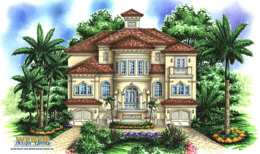 Beach House Plan 3 Story Coastal Mediterranean Style Home Plan Casas House Pool