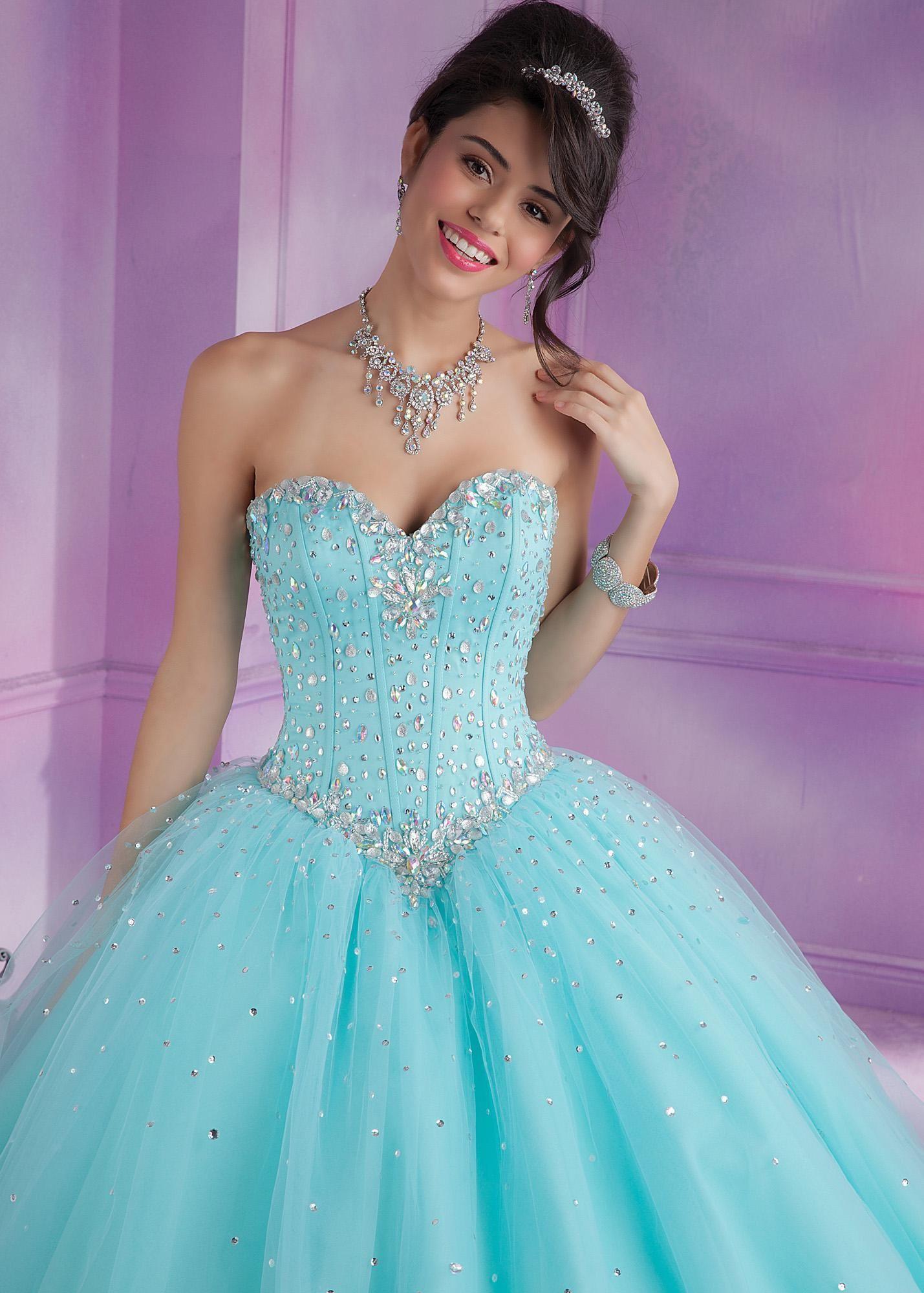 70aa12a1d5 Vizcaya 89017 - Aqua Strapless Beaded Quinceanera Prom Dresses Online