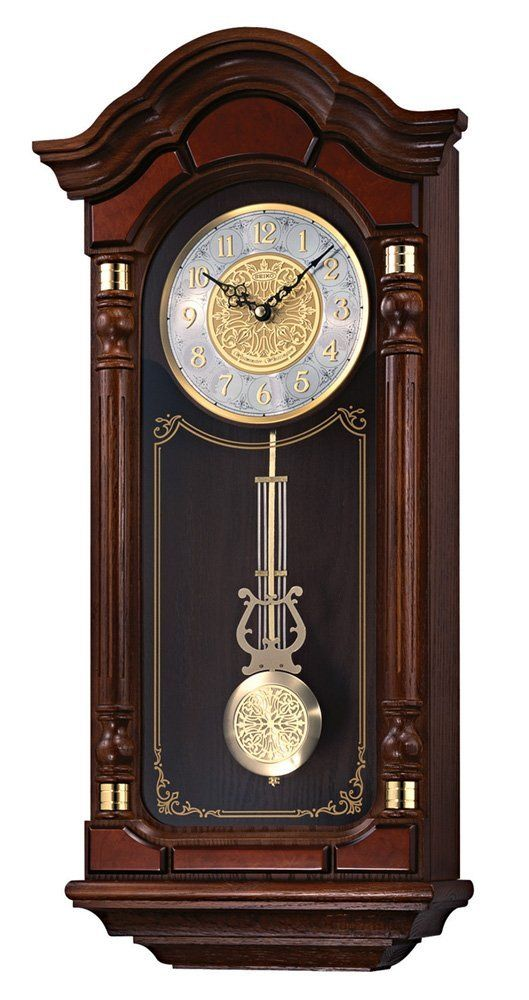 Seiko Wall Pendulum Clock Dark Brown Solid Oak Case With Hand Rubbed Finish Chiming Wall Clocks Pendulum Wall Clock Traditional Wall Clocks